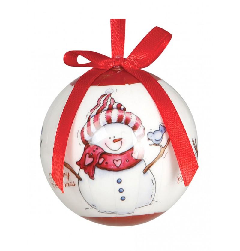 set de 6 bolas navideas blancas decoradas con mueco de nieve
