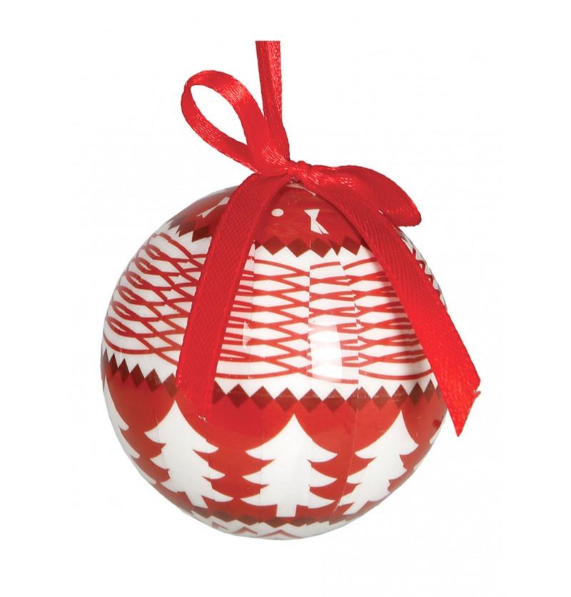 set de 6 bolas navideas rojas decoradas con rboles blancos