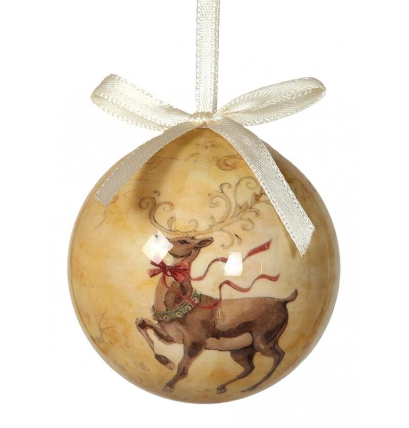 set de 6 bolas navideas decoradas con reno rojo