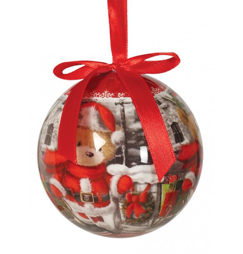 set de 6 bolas navideas decoradas con osos