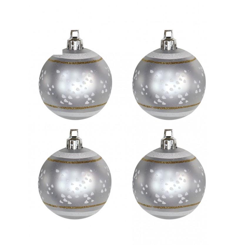 set de 4 bolas navideas plateadas decoradas con nieve