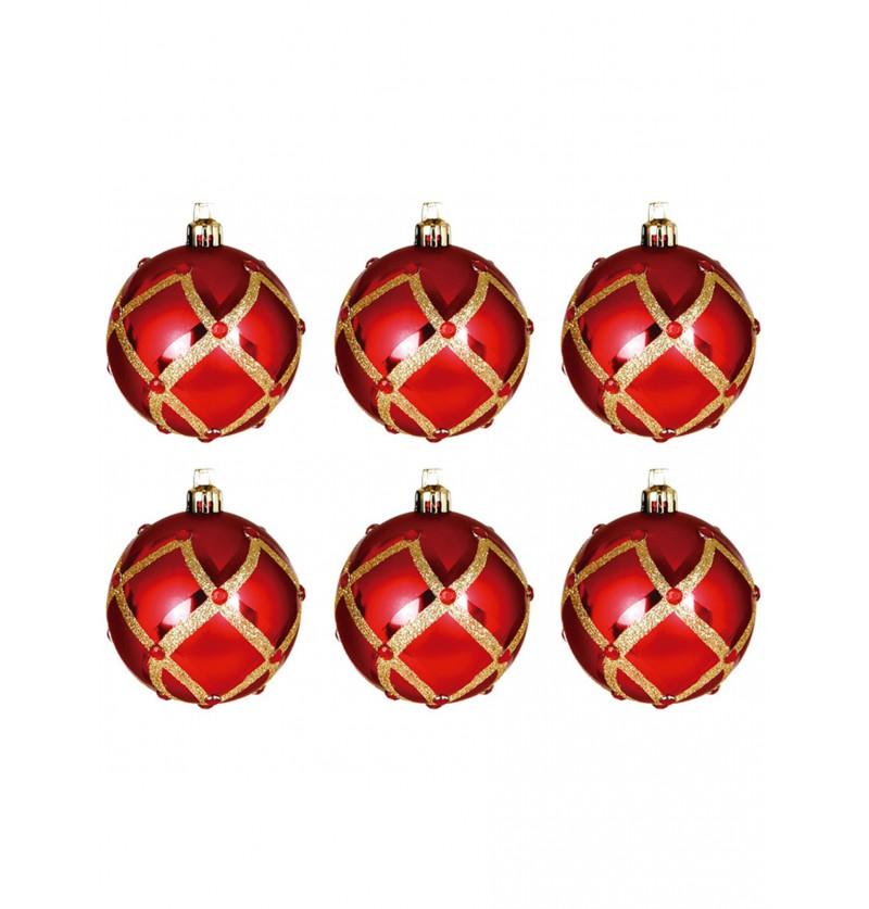set de 6 bolas navideas rojas decoradas con rombos