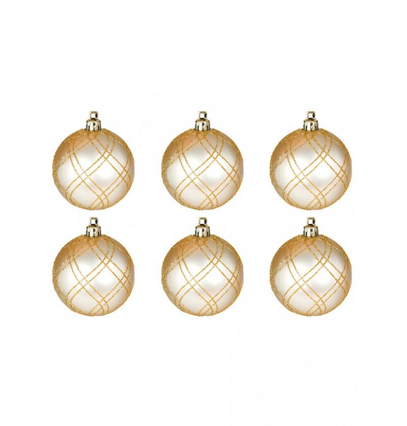set de 6 bolas navideas doradas decoradas con purpurina