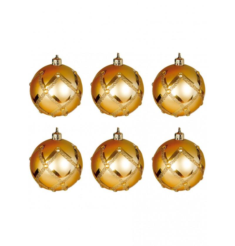 set de 6 bolas navideas doradas decoradas con rombos