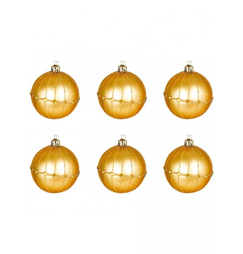 set de 6 bolas navideas doradas decoradas