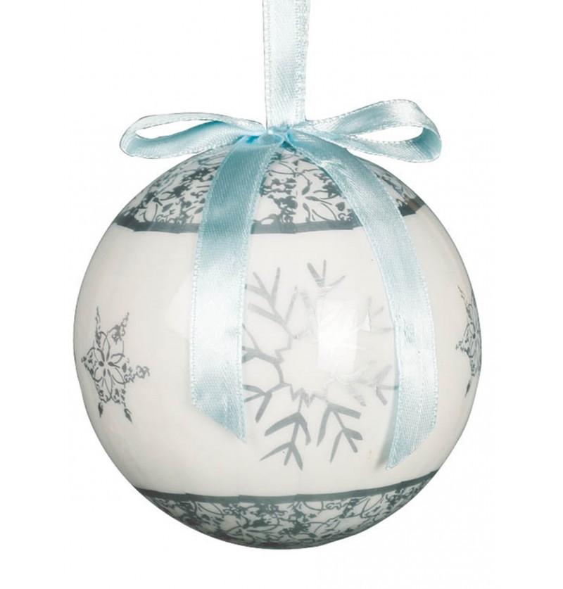 set de 6 bolas navideas grises decoradas