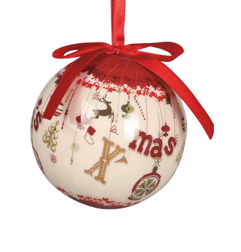 set de 6 bolas navideas decoradas con x mas