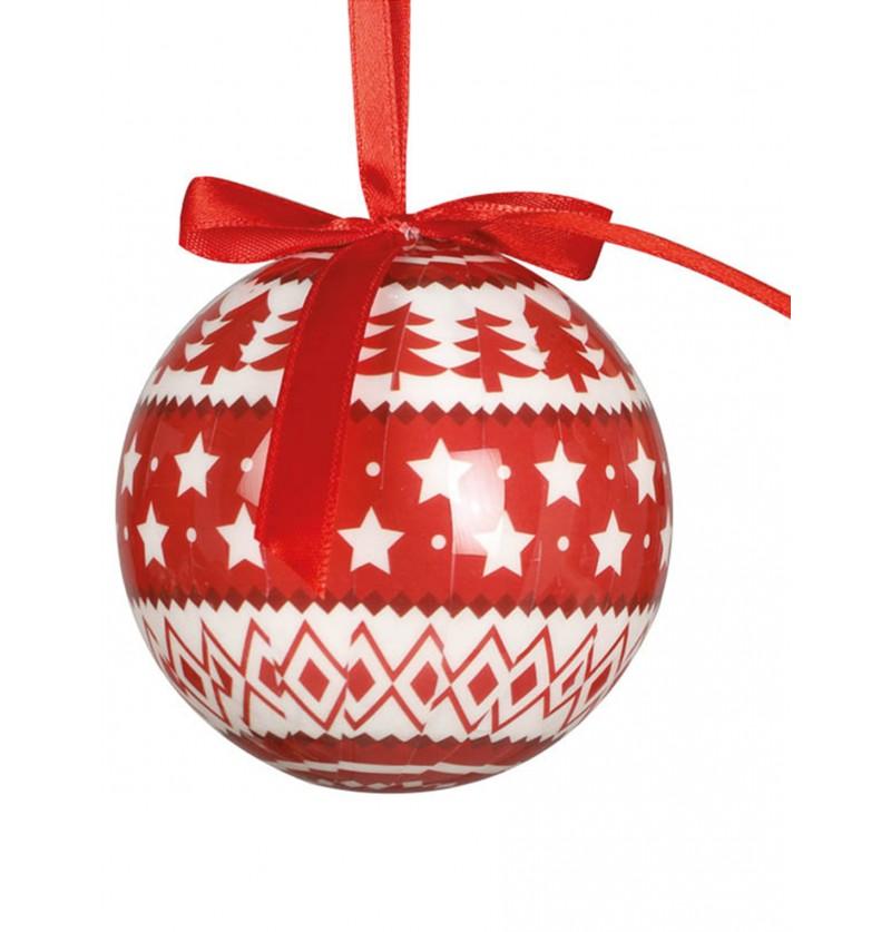 set de 6 bolas navideas decoradas con estrellas