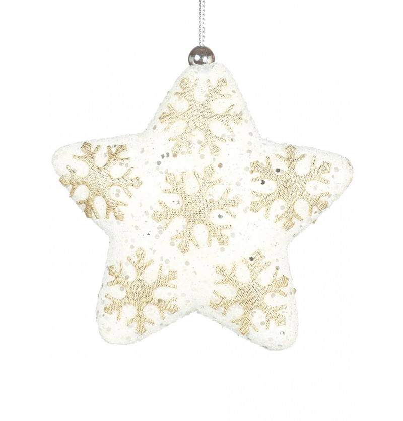 estrella navidea blanca decorada para el rbol