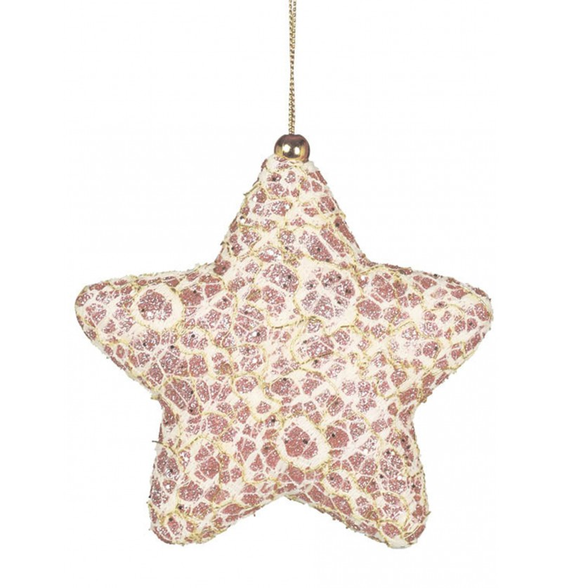 estrella navidea rosa decorada para el rbol