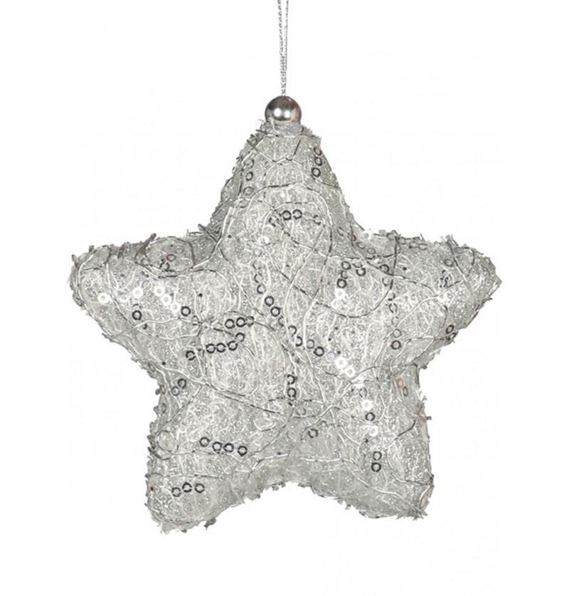 estrella navidea plateada decorada para el rbol