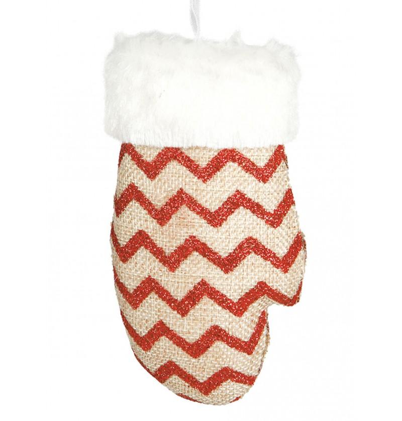 guante navideo de rayas rojas para el rbol