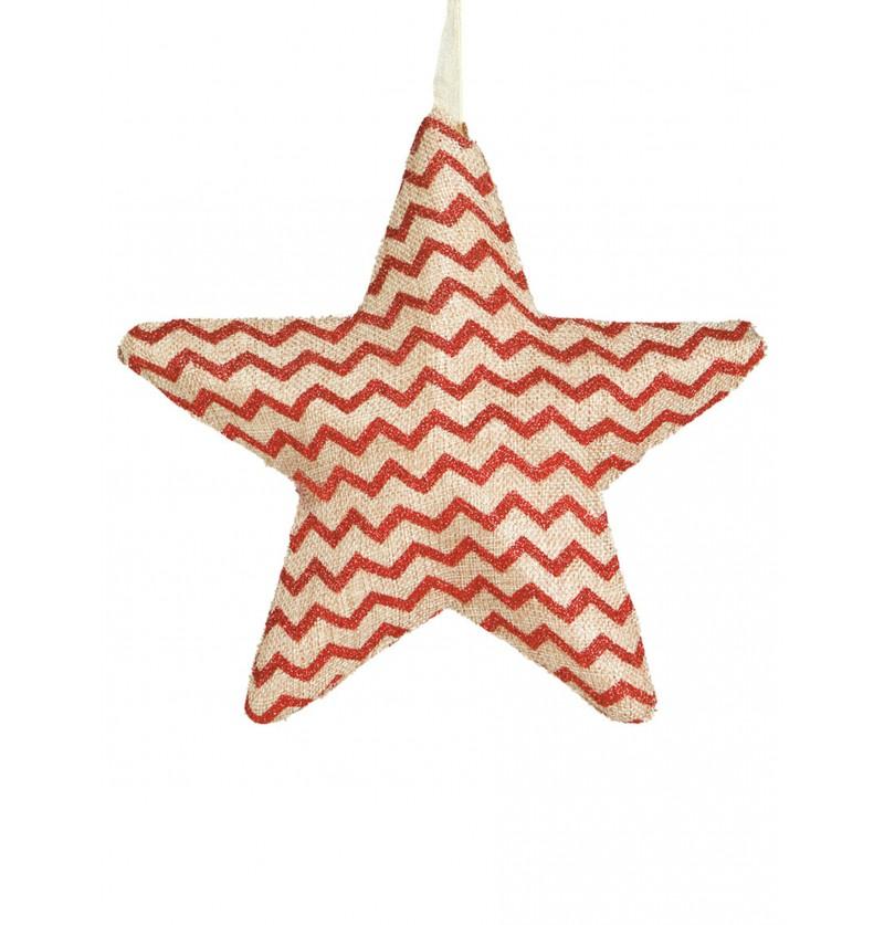 estrella navidea de rayas rojas grande para el rbol