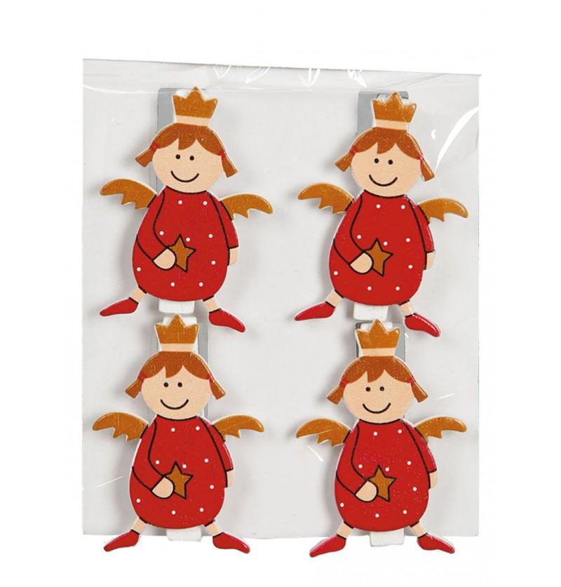 set de 4 ngeles navideos rojos con pinzas para el rbol