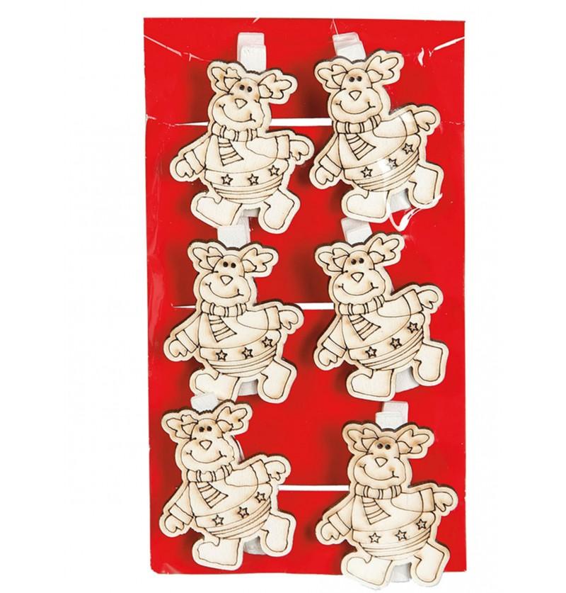 set de 6 renos navideos con pinzas para el rbol