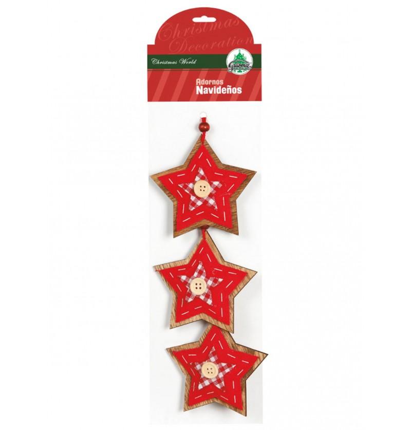 set de 3 estrellas navideas rojas con lazo para el rbol