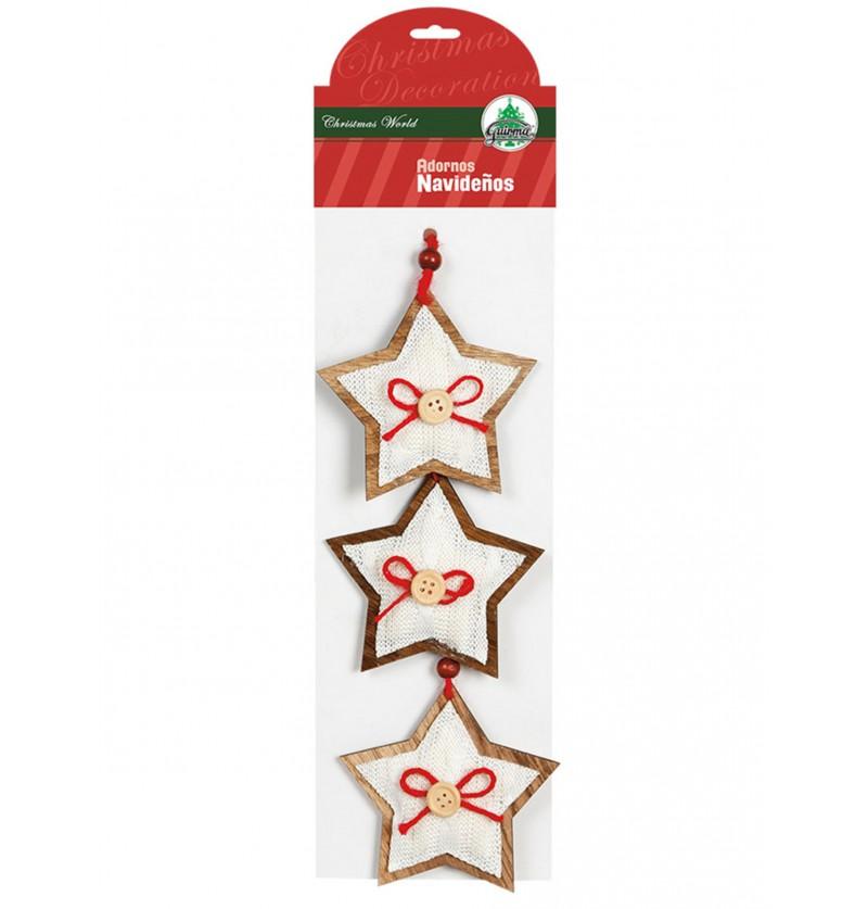 set de 3 estrellas navideas blancas con lazo para el rbol