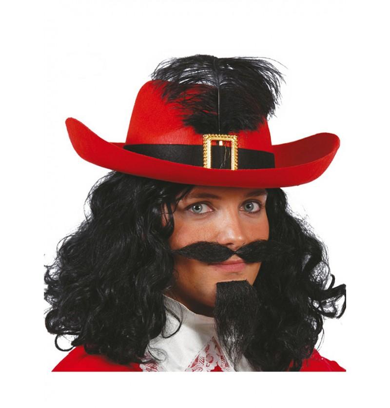 Sombrero de mosquetero rojo