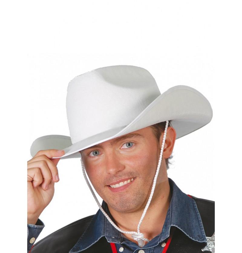Sombrero de vaquero blanco ala ancha