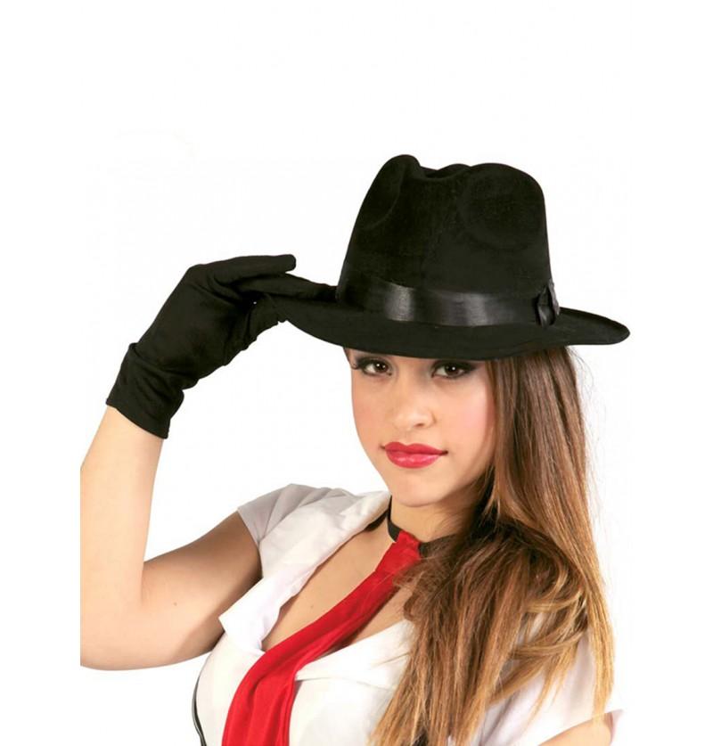 Sombrero de gángster negro con cinta negra 6c7a3526958
