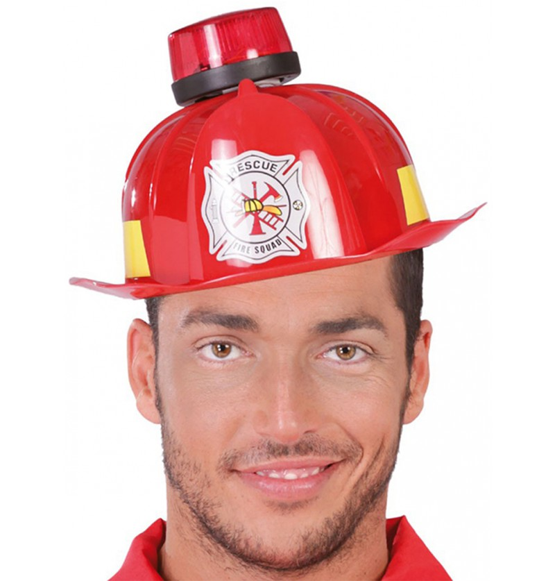 Casco de bombero con sirena y luz