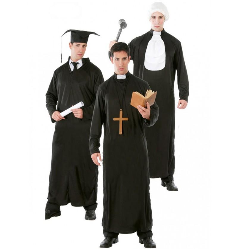 Disfraz de 3 en 1 estudiante/cura/juez