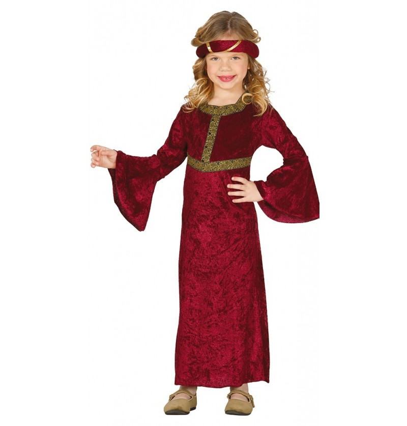 Disfraz de dama medieval rojo para niña