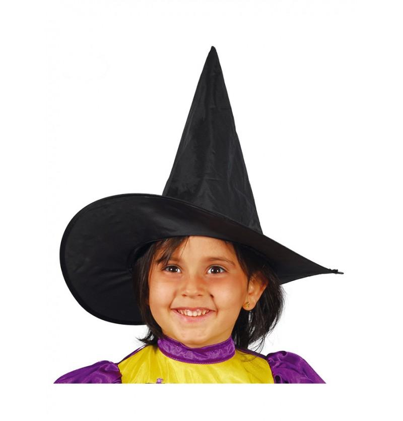 Sombrero de bruja negro para niña