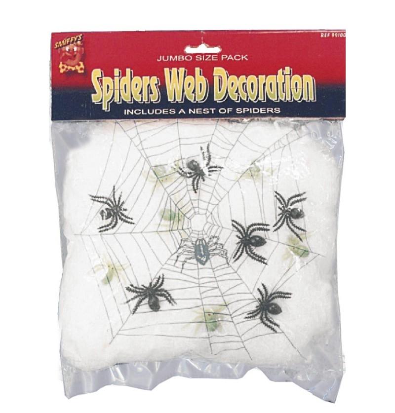 Decoración de telaraña con arañas