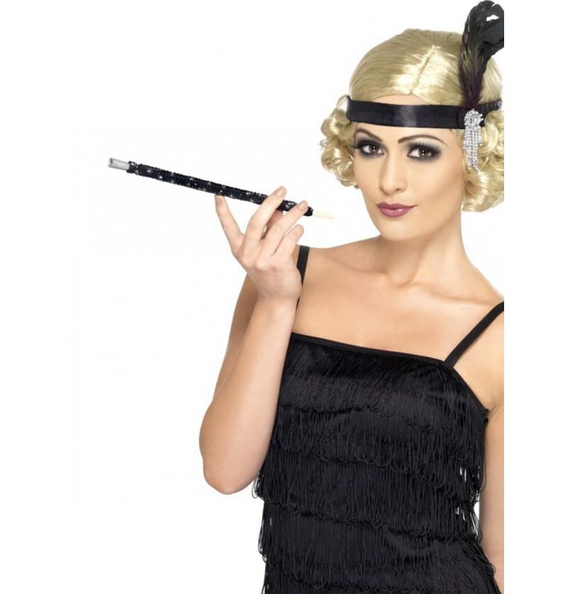 Boquilla negra con lentejuelas estilo años 20