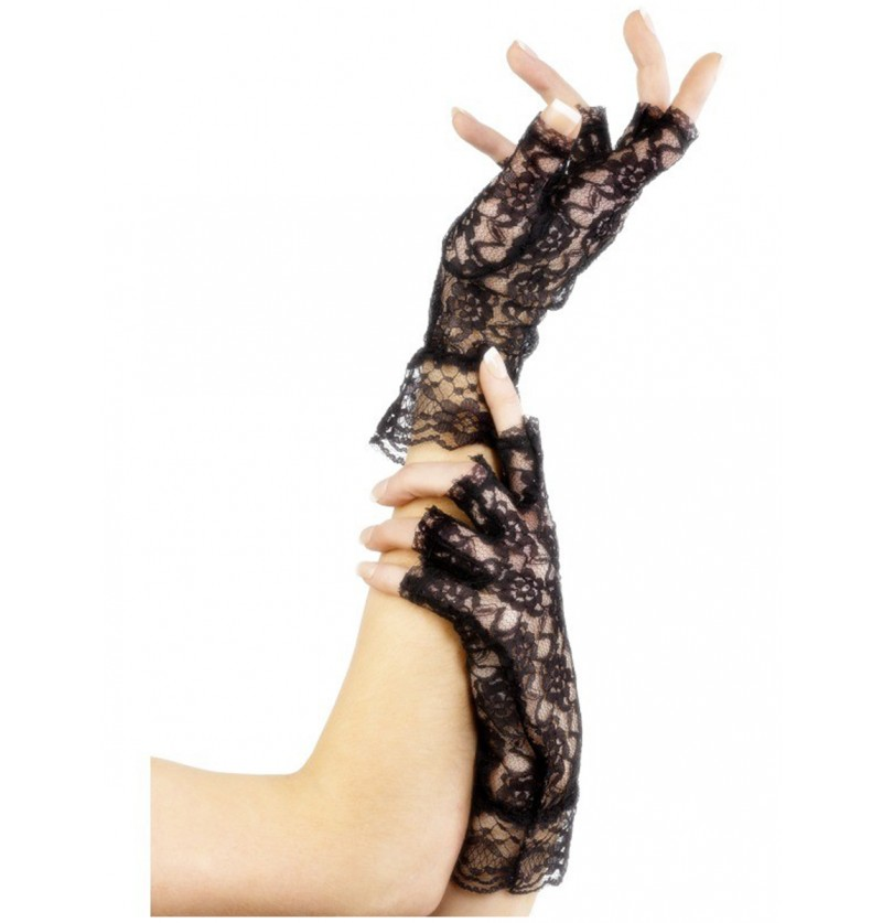 Guantes de encaje sin dedos negros