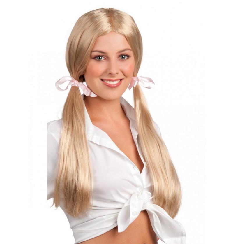 peluca de estudiante aplicada para mujer