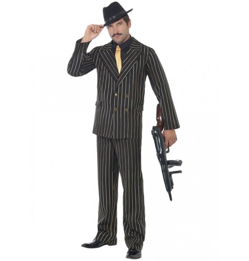 Disfraz de gángster de raya diplomática dorada