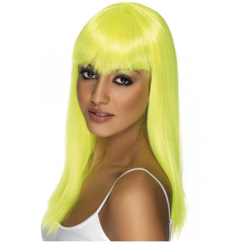 Peluca Glamourama amarillo neón con flequillo