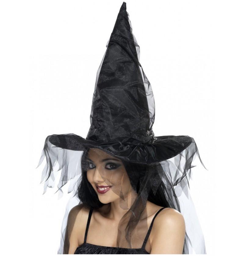 Sombrero de bruja con telas