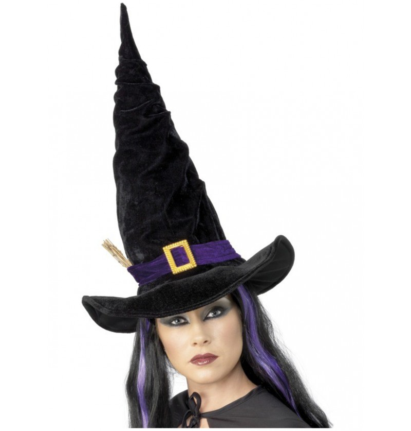 Sombrero de bruja negro con banda morada