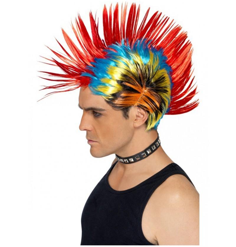 Peluca de punk multicolor