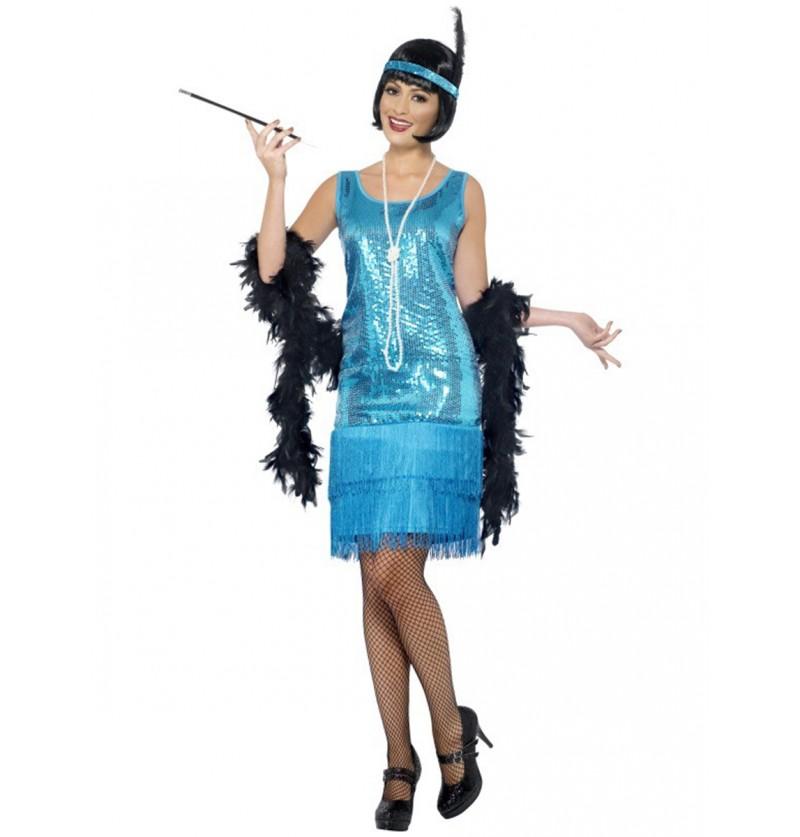 Disfraz de charlestón azul para mujer