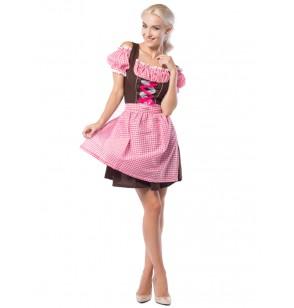 Vestido de bávara rosa y marrón para mujer