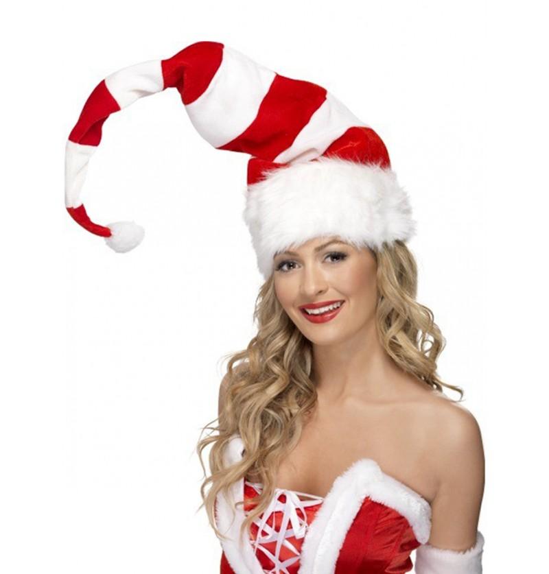 Gorro Papá Noel largo a rayas