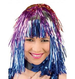 peluca multicolor brillante festiva para adulto