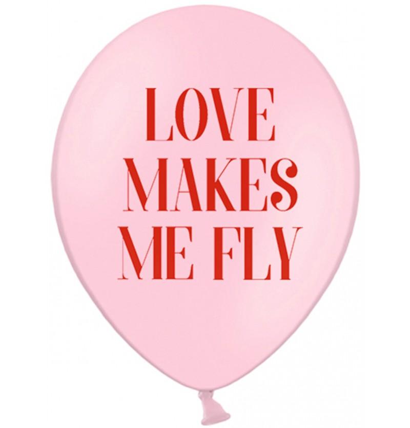 Set de 6 globos de látex Love makes me fly - Valentine Collection