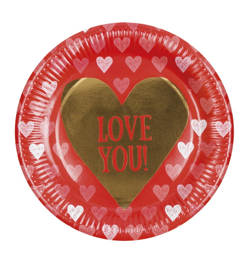 Set de 6 platos con corazones – Love You
