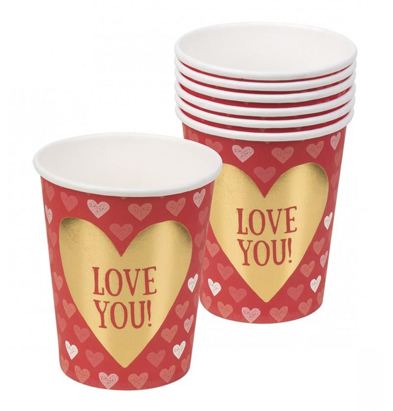 Set de 6 vasos con corazones – Love You