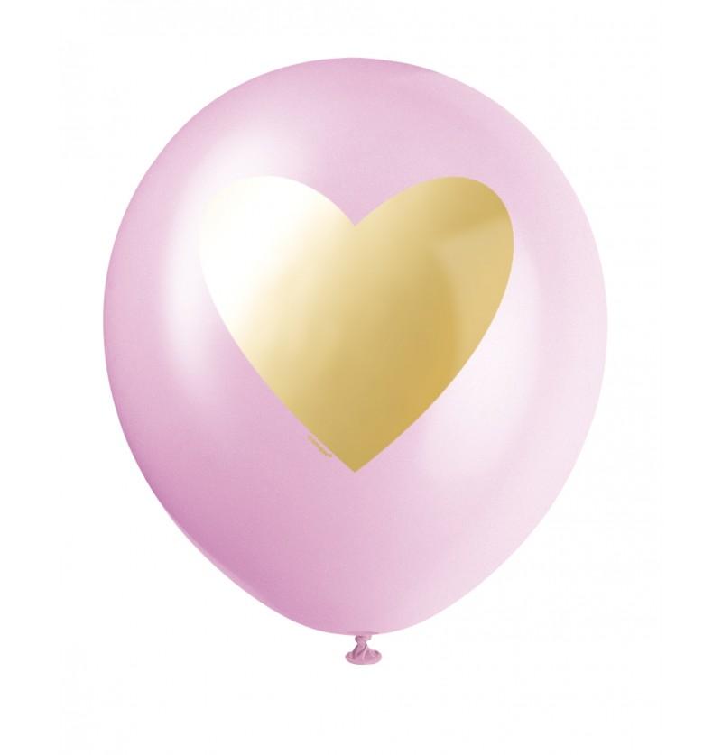 Set de 6 globos de látex surtidos de colores blanco, rosa claro y rosa fuerte con corazon dorado