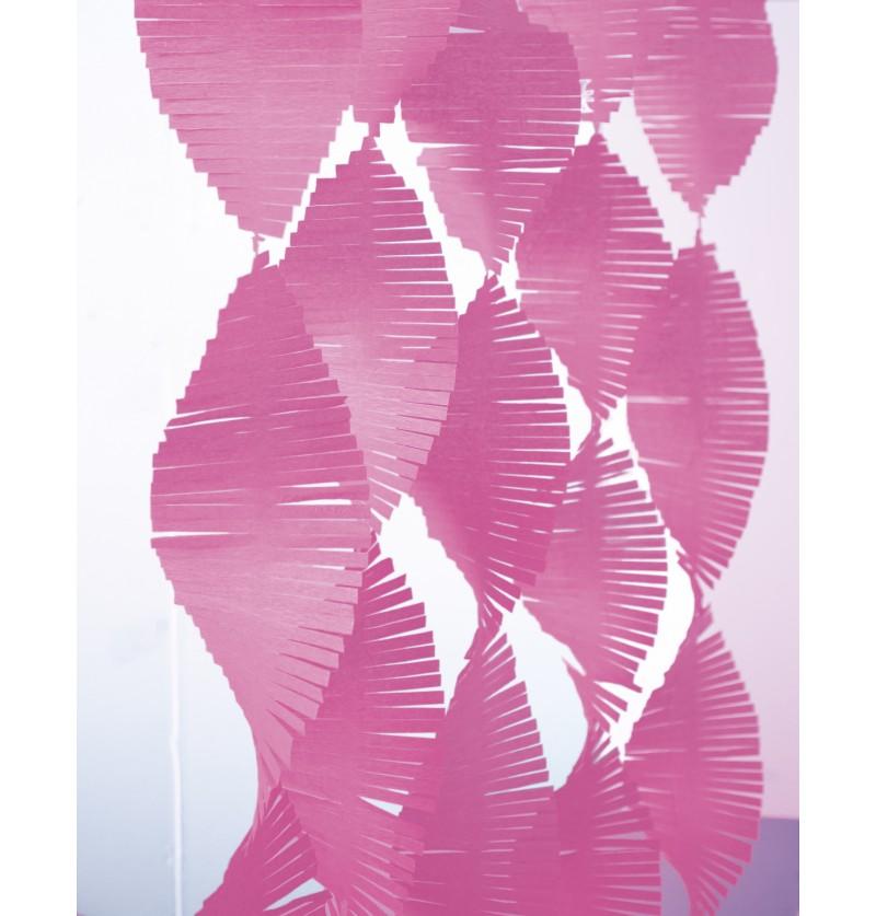 Cinta de flecos de papel crepe rosa fuerte  - Línea Colores Básicos