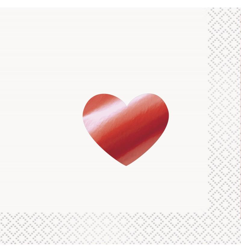 Set de 16 servilletas de cocktail con corazón metalizado - Red Foil Programme