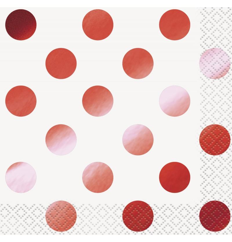 Set de 16 servilletas de cocktail con lunares rojos metalizados - Red Foil Programme