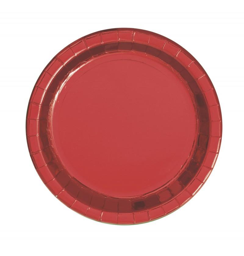 Set de 8 platos redondos de postre rojos metalizados - Red Foil Programme