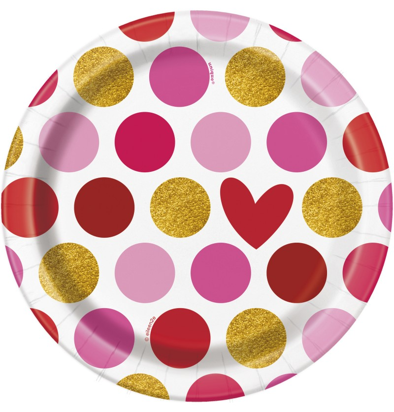 Set de 8 platos de postre con corazon y rayas - Gold Happy Valentines